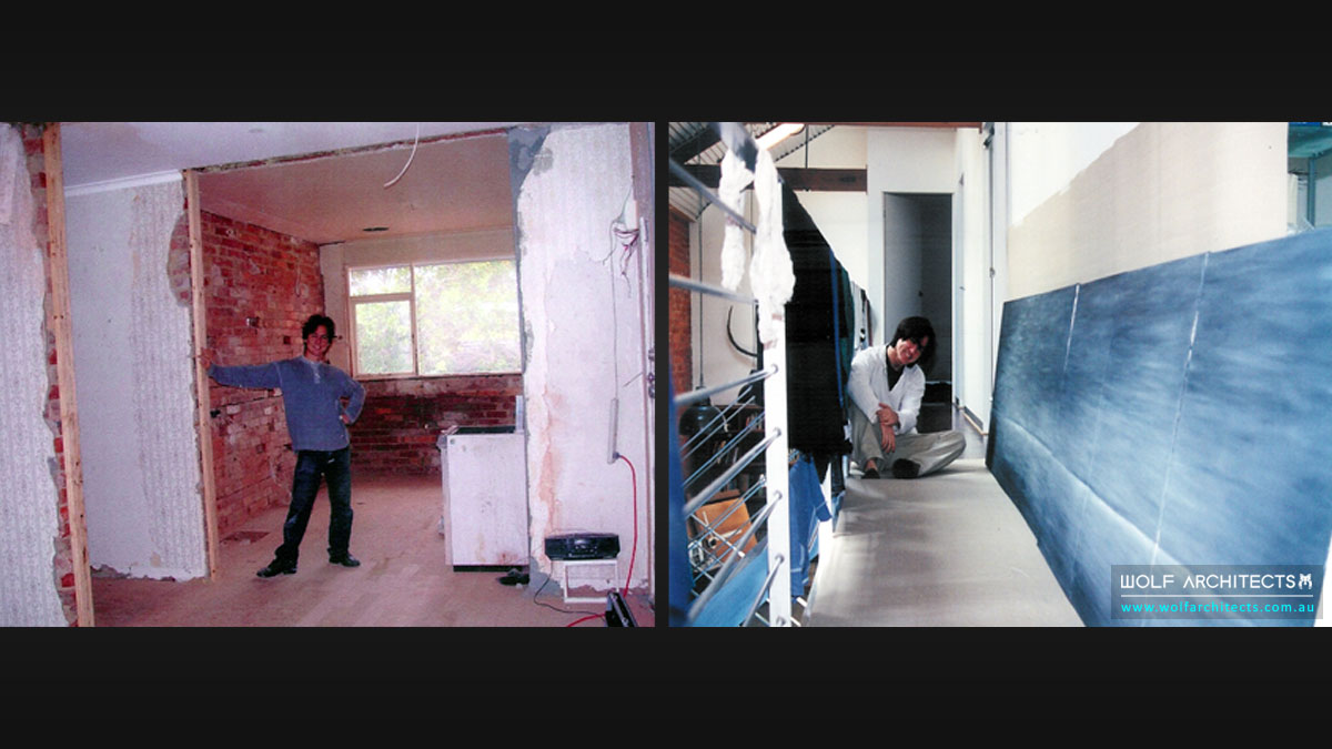 On the left is Taras during the period of property renovation. On the right is Taras the artist, at the time he was selling his own artworks for a living.