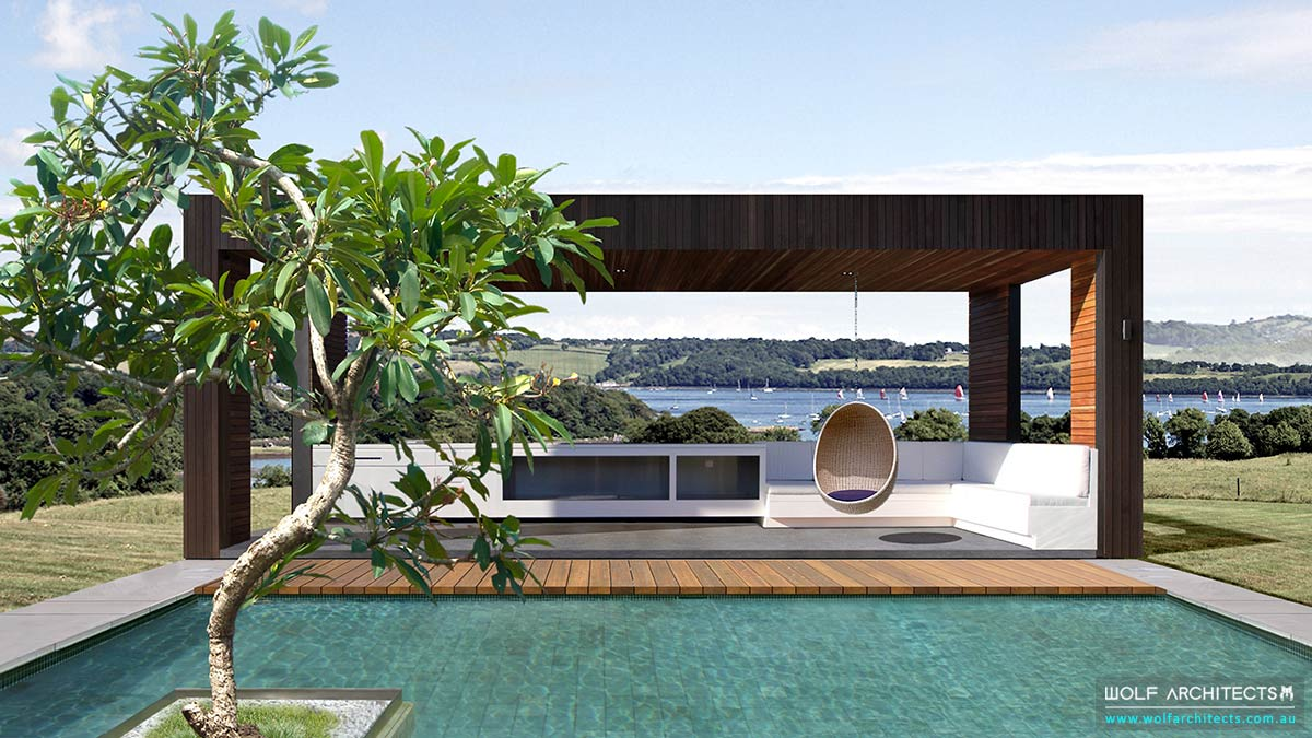 Architect designed pool house pavillion by Wolf Architects
