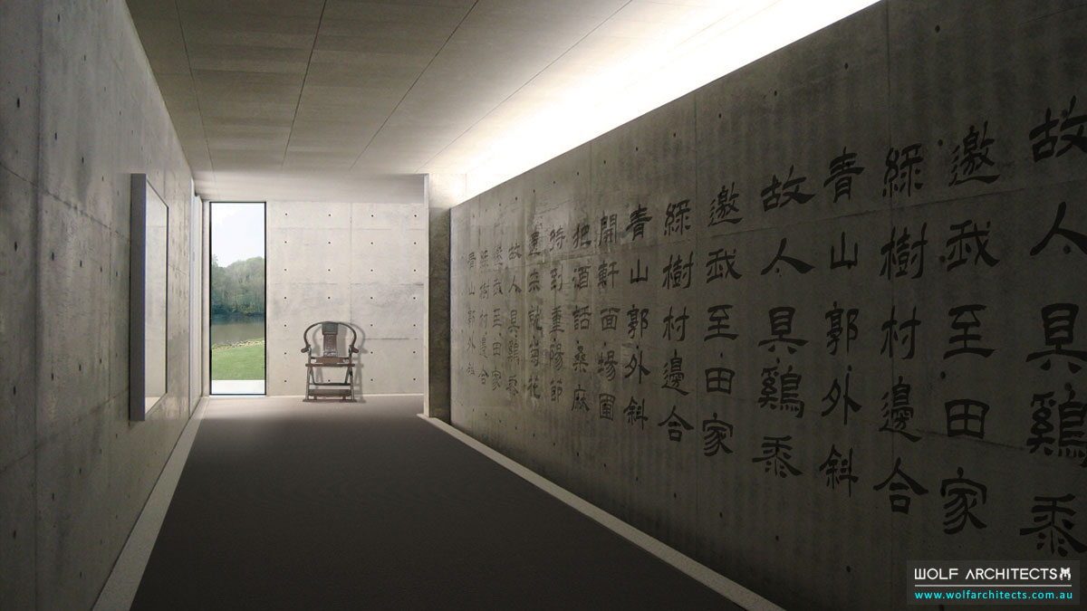 Concrete hallways with Chinese mural by Wolf-Architects