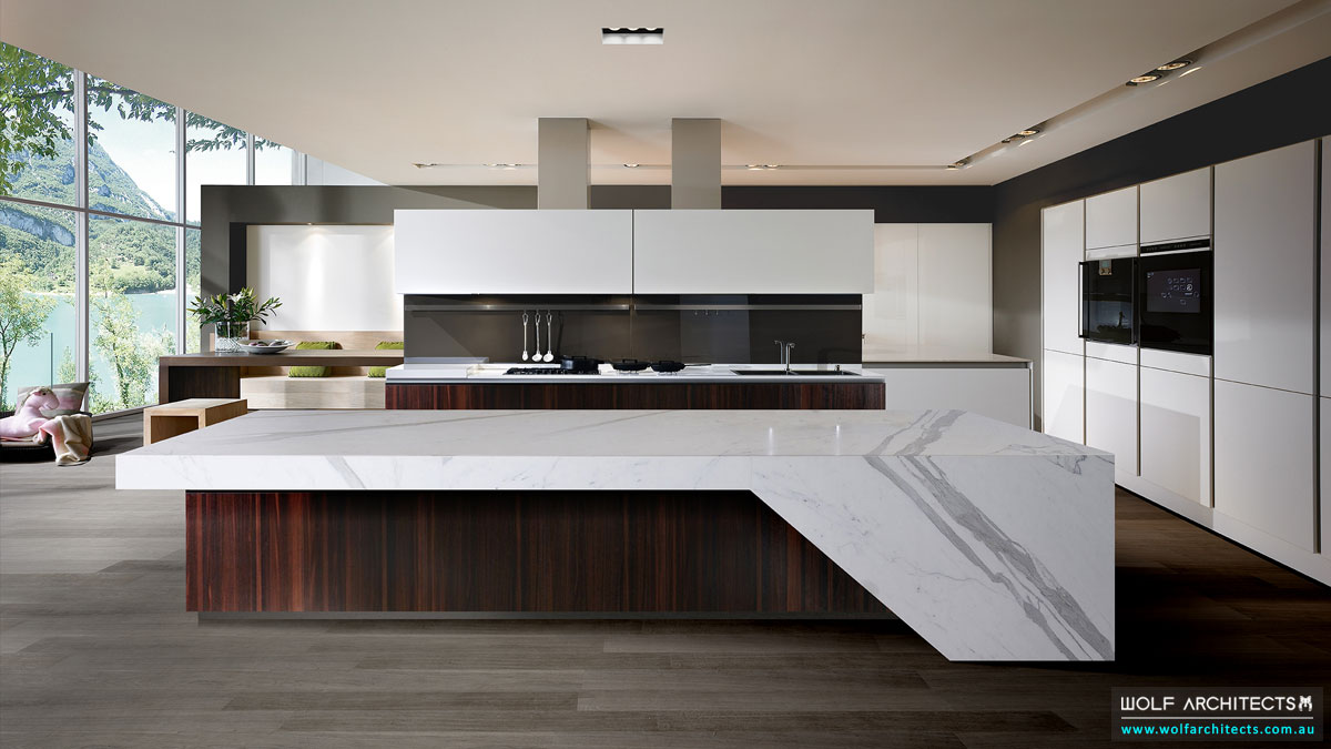 Grand luxury modern house kitchen by Wolf Architects