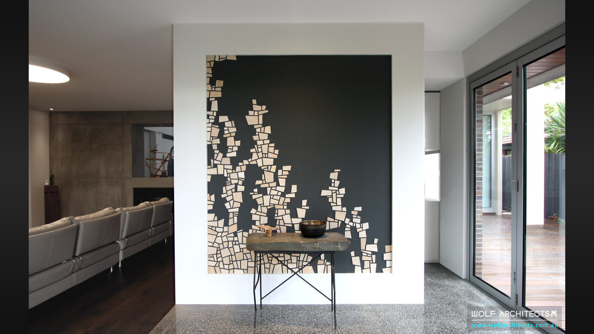 Hand crafted Feature entry wall by Artist in Wolf Architects house