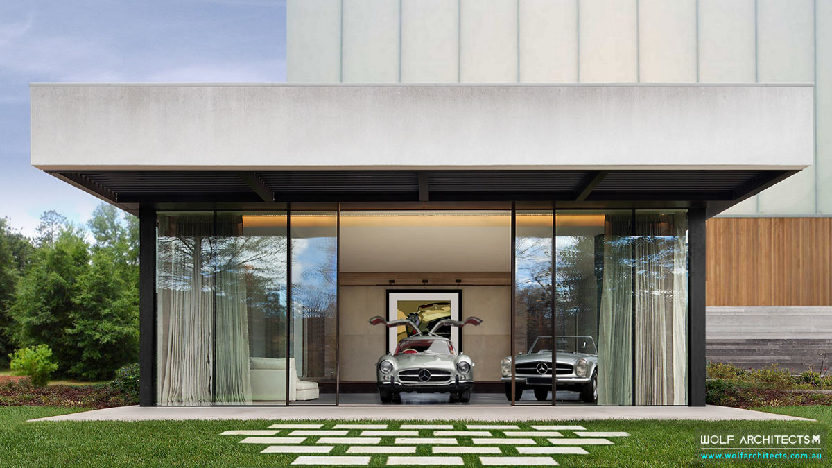 Super Villa for car collection by dream home design experts Wolf Architects