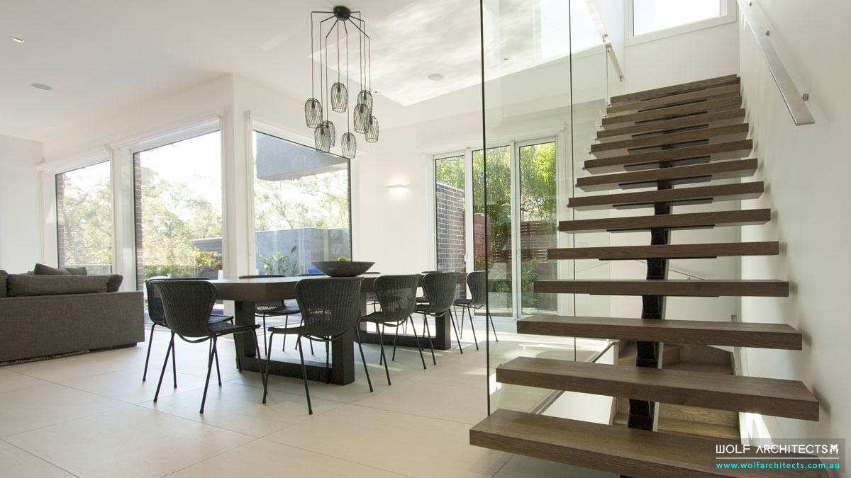 Modern contemprary stairs by Wolf Architects