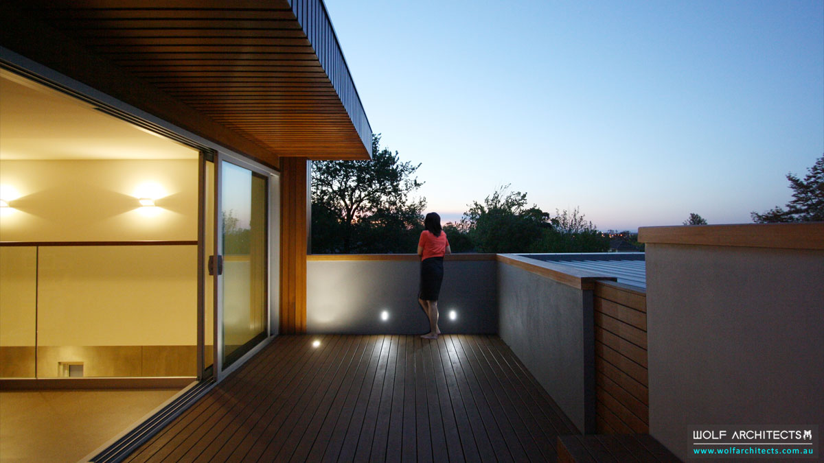 Roof top Deck that acts as thermal Chimney by Wolf Architects