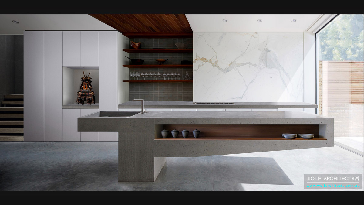 Super concrete Benchtop for Chinese concrete house by Wolf Architects