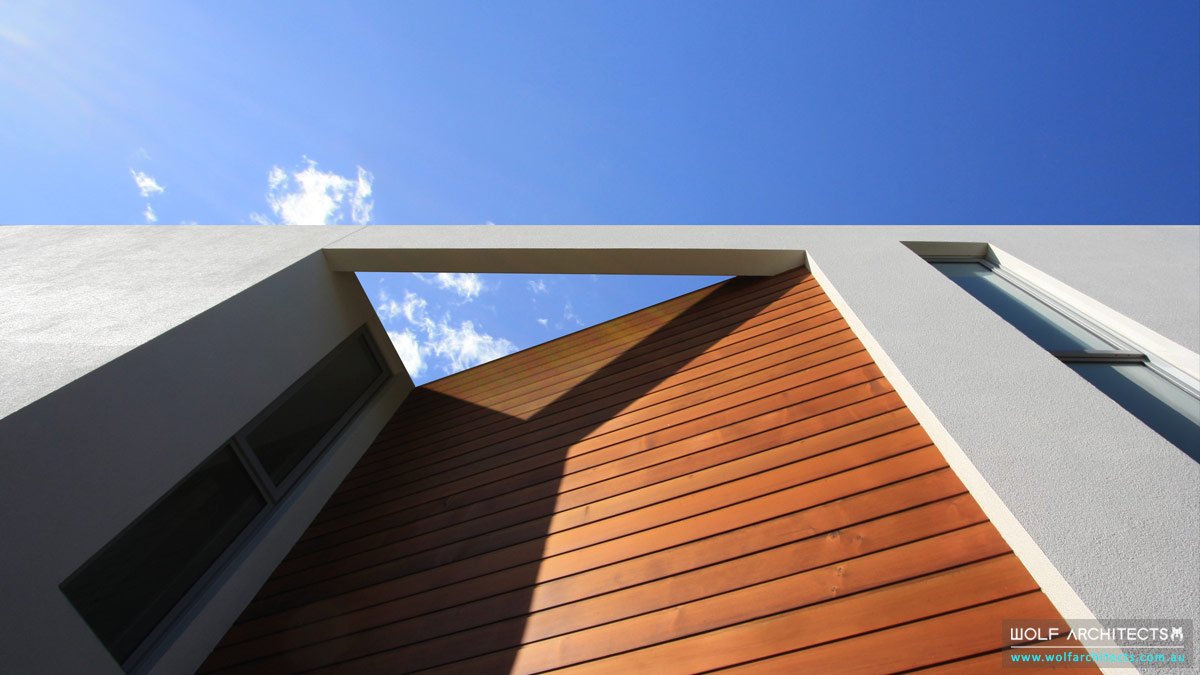 Triangular detail and form for Wolf Architect designed house Melbourne