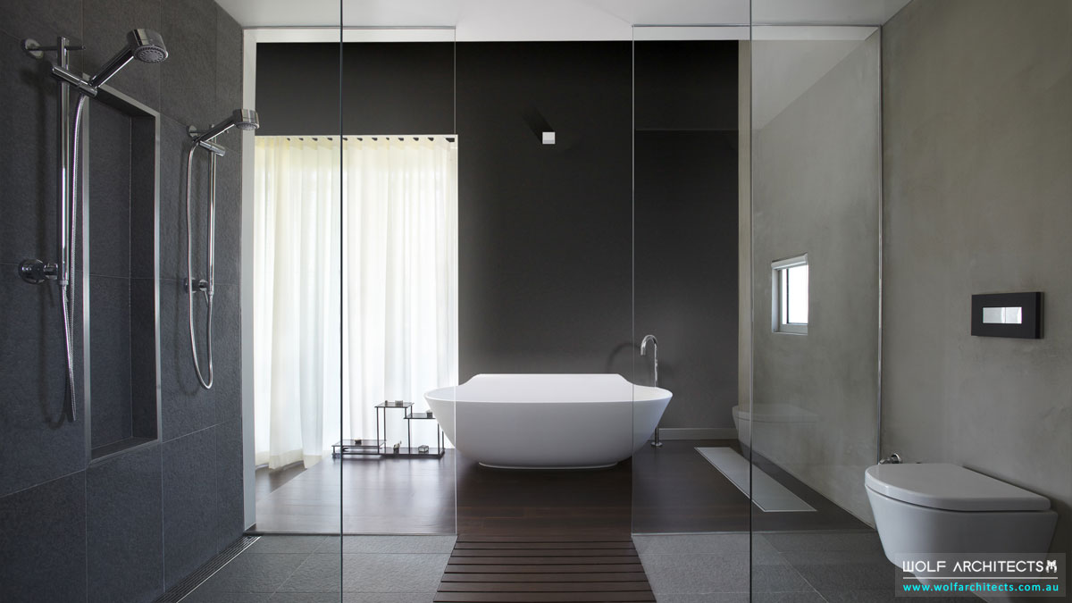 Wolf Architects award winning bathroom with scoop bathtub