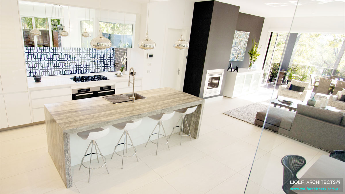 Wolf Architects open plan kitchen lounge and dining spaces