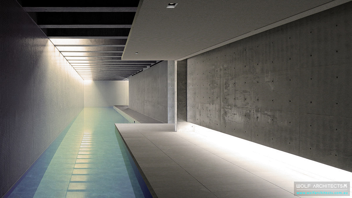 Modern under ground lap pool by Wolf Architects