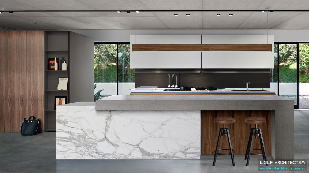 Bangkok River house Modern contemporary concrete Kitchen by Wolf Architects