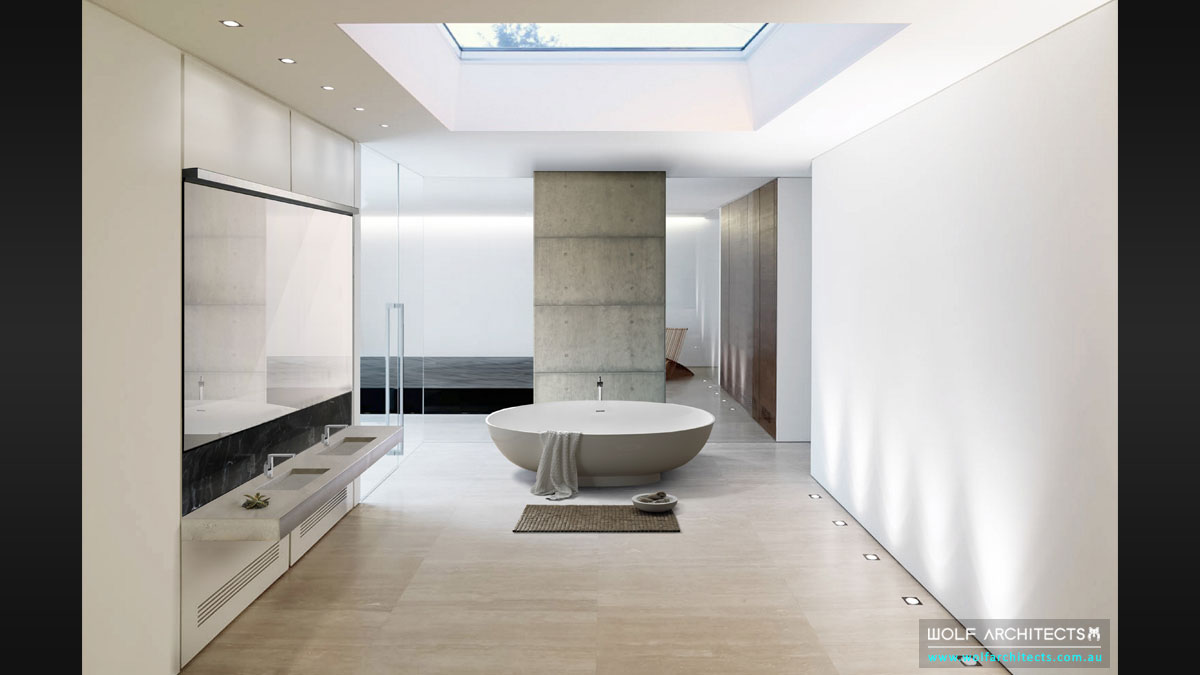Modern Bangkok River house Master bathroom