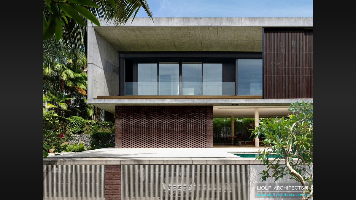 Modern Contemporary Bangkok River residence pedestrian entrance by Wolf ARCHITECTS
