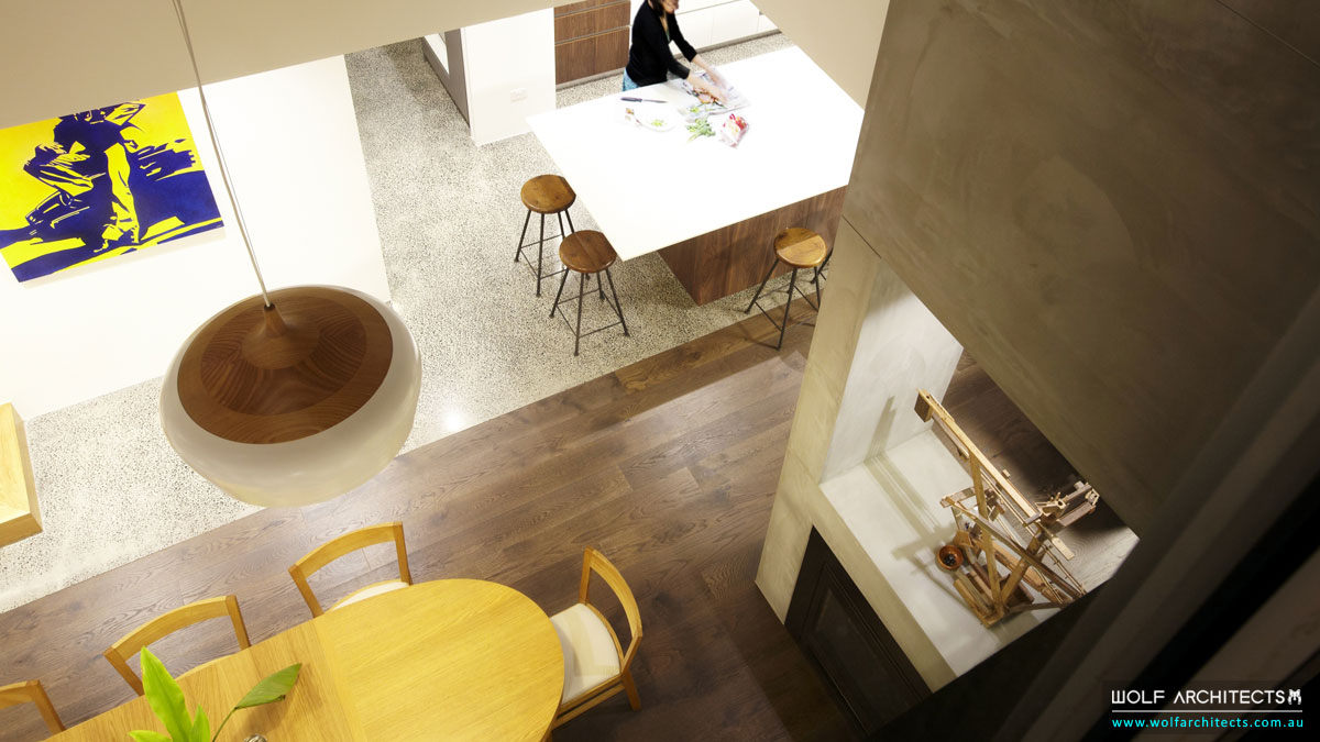 WolfArchitects-FeaturedProject-TheWolfHouse-View-Down-To-The-Kitchen