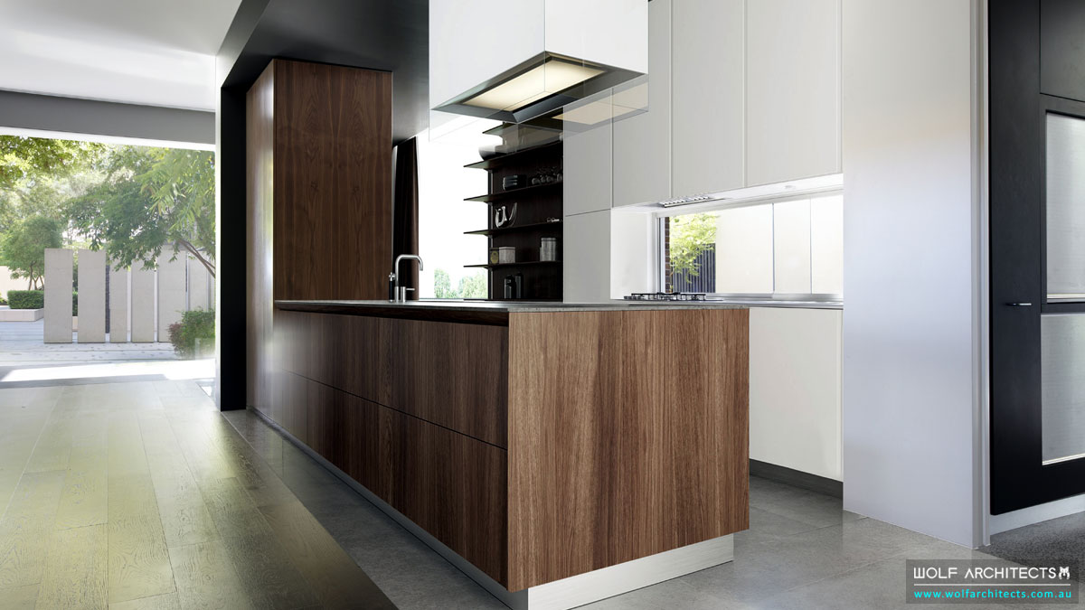 Open Modern Walnut Veneered Kitchen
