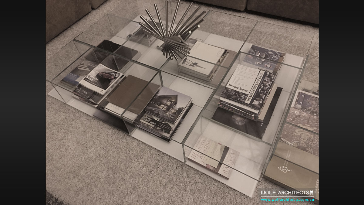 coffee table with assorted books