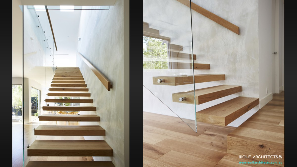contemporay architecturally staircase designed houses in a row by Wolf Architects