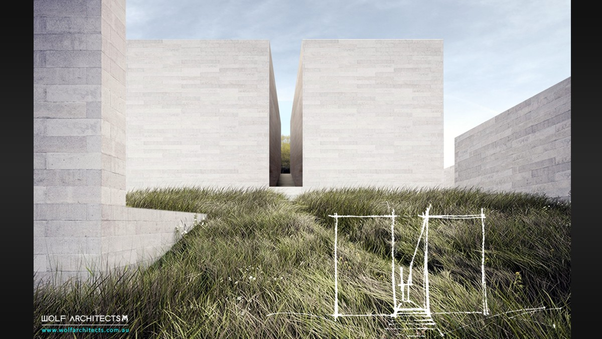 meditation centre concept drawings by Wolf Architects