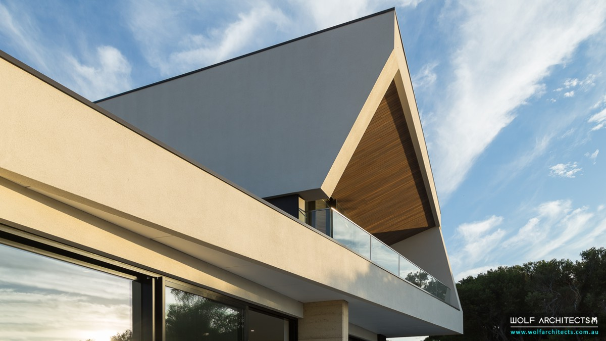 Mt Martha modern house angle art by Wolf Architects