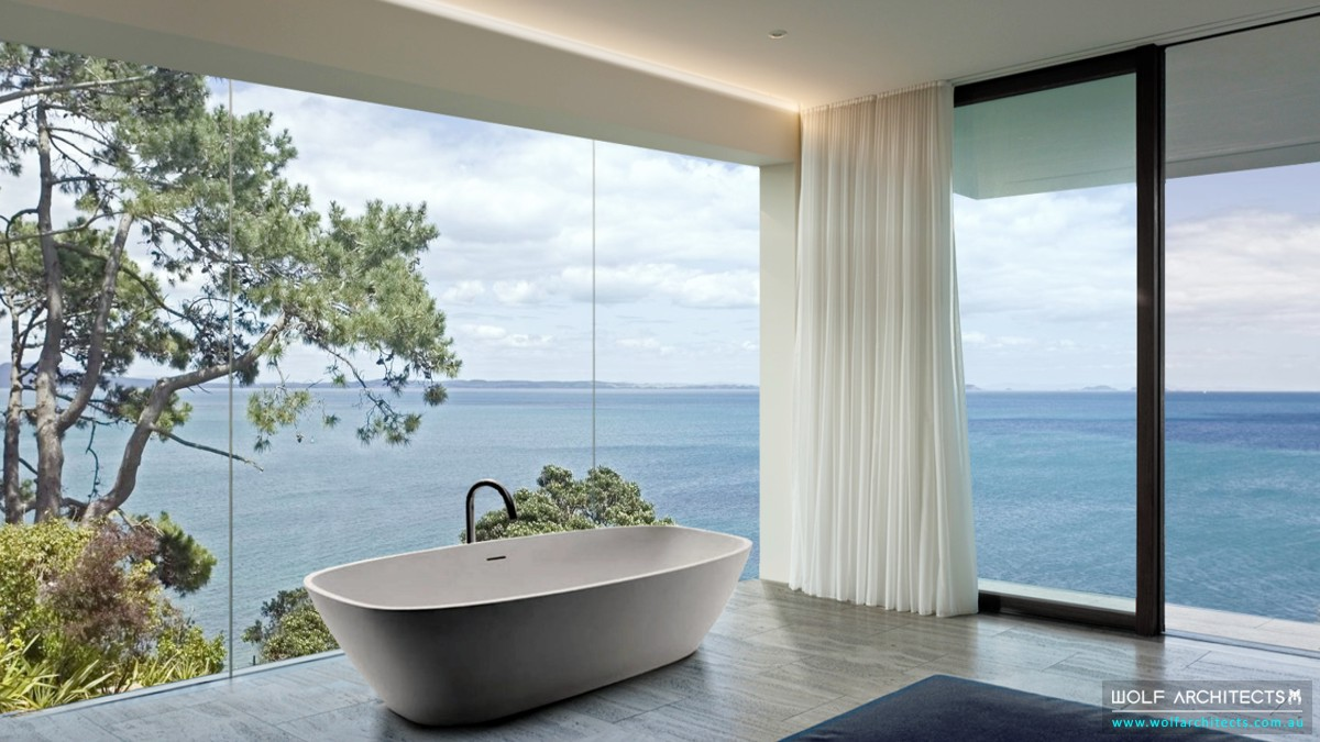 Minimal open bath in bedroom design by Wolf Architects