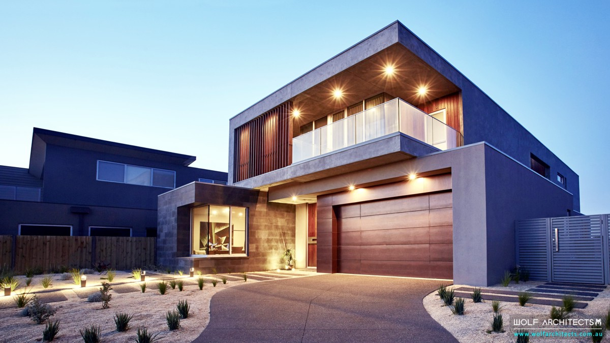 Kruger House Modern exterior front by Wolf Architects
