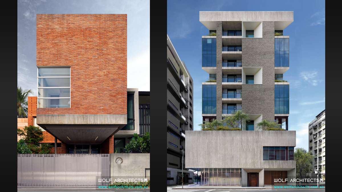 Modern Residential apartment and commercial high rise buildings by Wolf Architects
