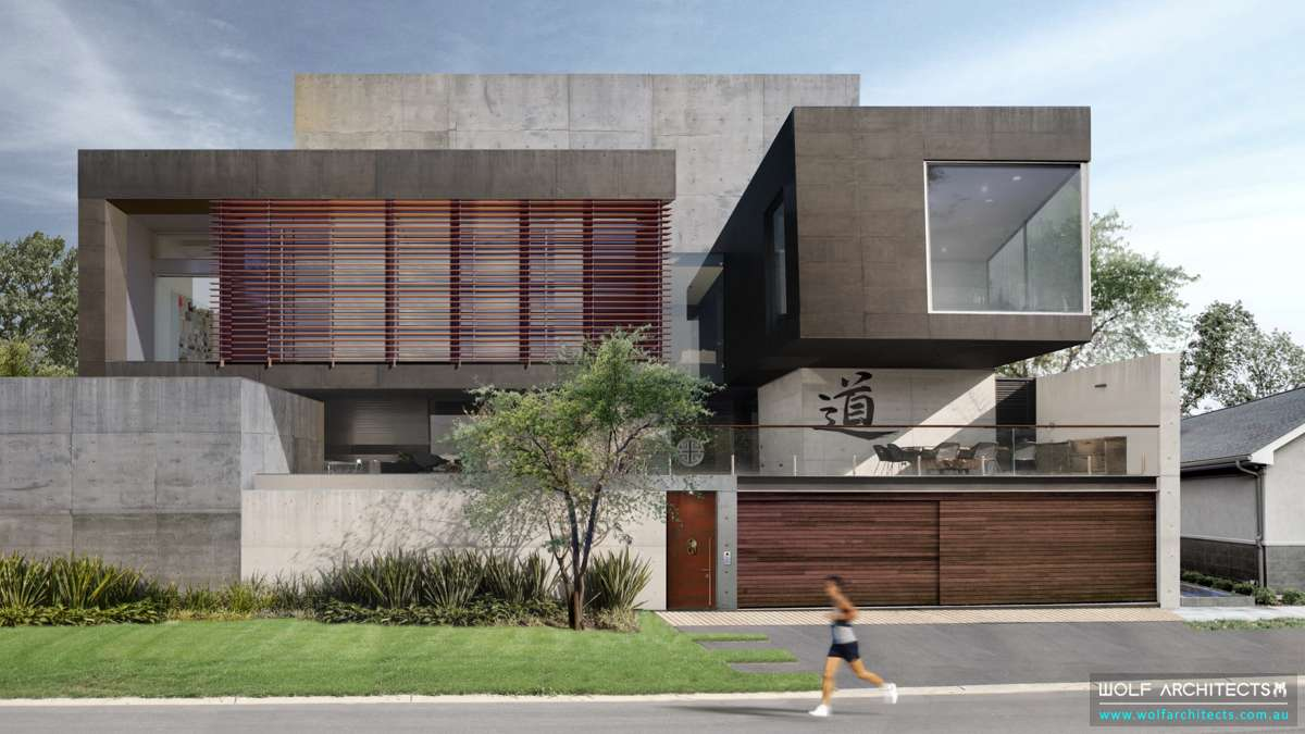 Modern large luxury Concrete house by Wolf Architects