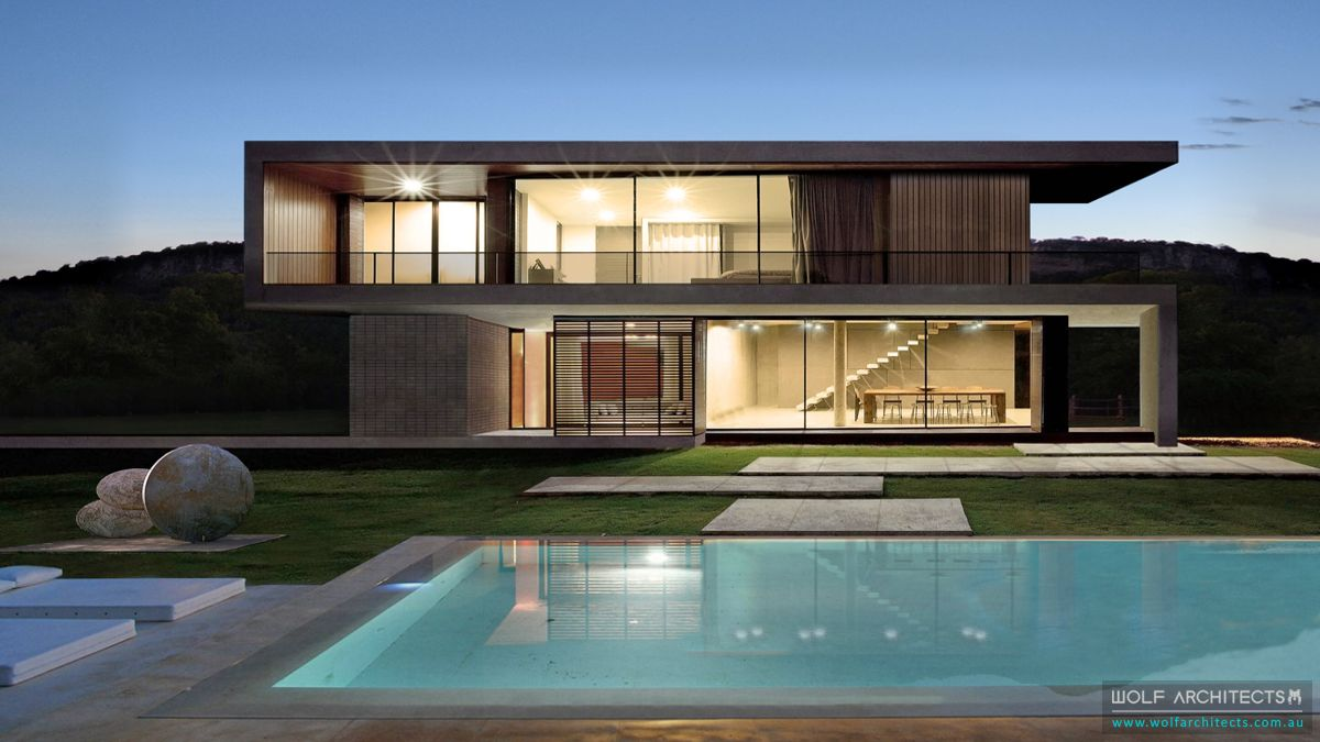 Modern party house with pool by Wolf Architects