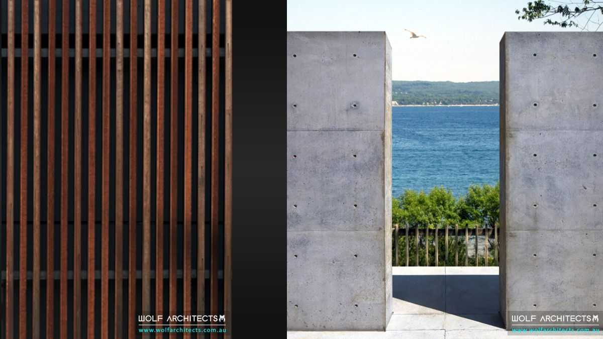 view house concrete and timber fence details