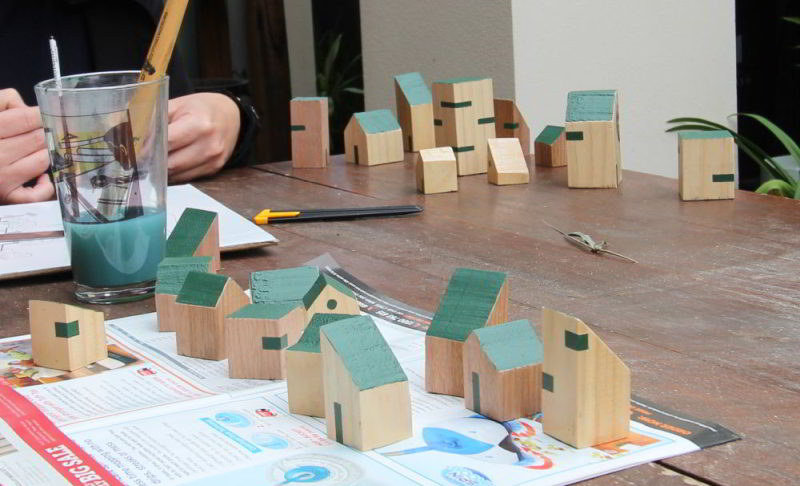 Tiny wooden Houses close up