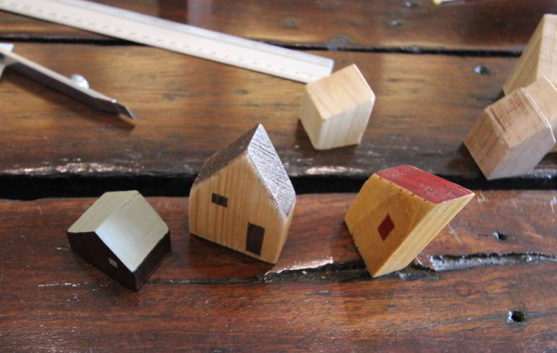 Tiny wooden Houses from years past