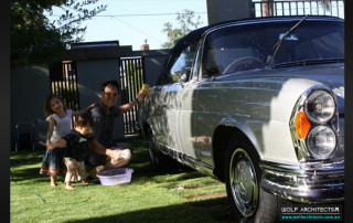 Taras Wolf Cleaning his classic Mercedes Benz