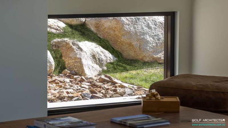 rock wall at Trewin house