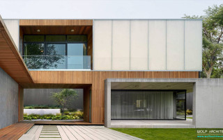Modern concrete and wood house