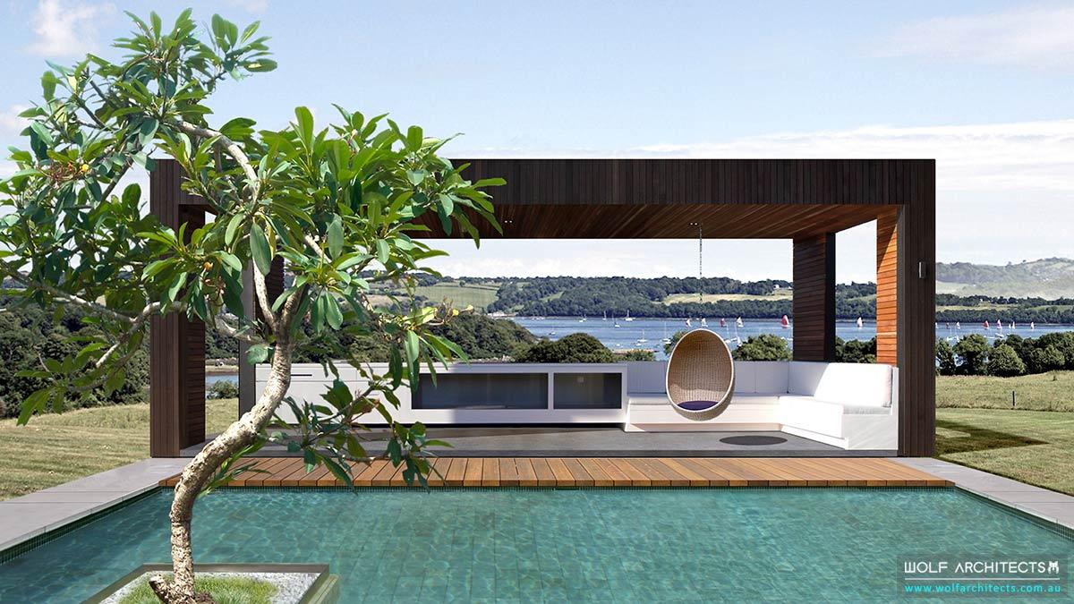 Architect designed pool house pavillion by Wolf Architects