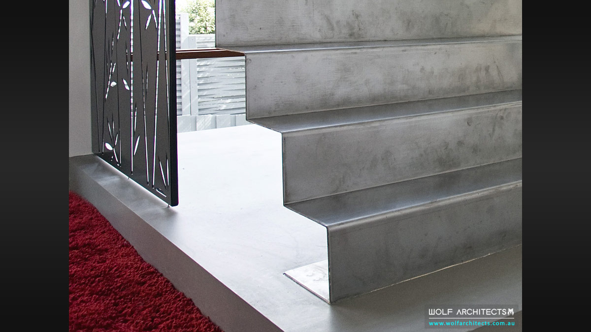 Custom steel stair design for modern mount waverley house by Wolf Architects