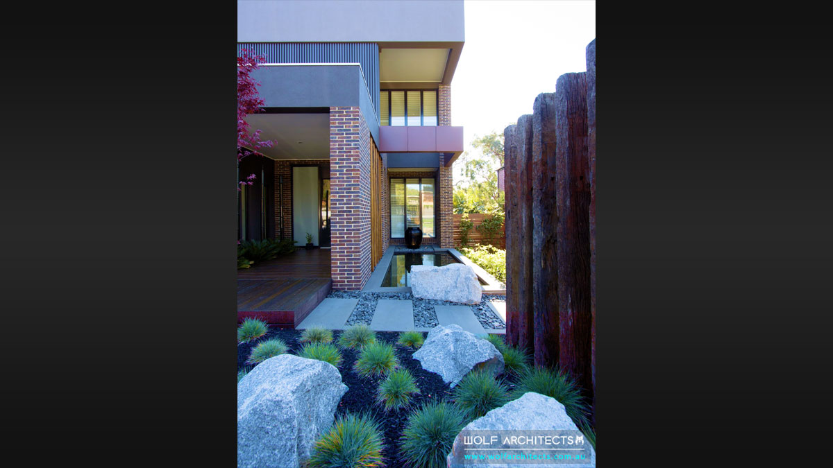 Garden and Landscape designs of Mount Waverley architecturally designed house by Wolf Architects
