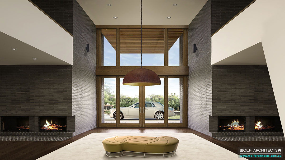 Grand entry foyer to luxury contemporary Mansion by Wolf Architects