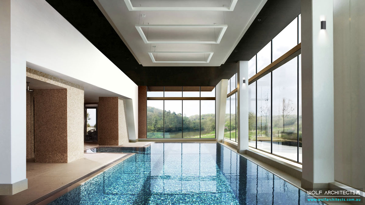 Luxury contemporary modern mansion with indoor pool by Wolf Architects