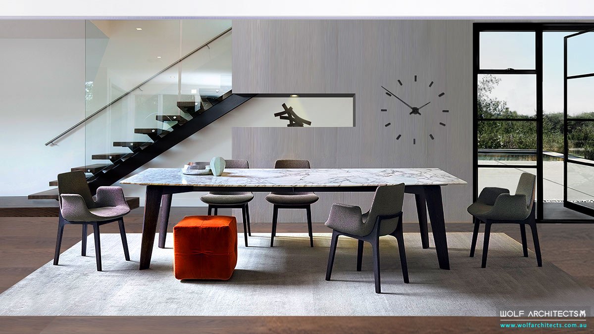 Modern dining room by Wolf Architects with designer furniture