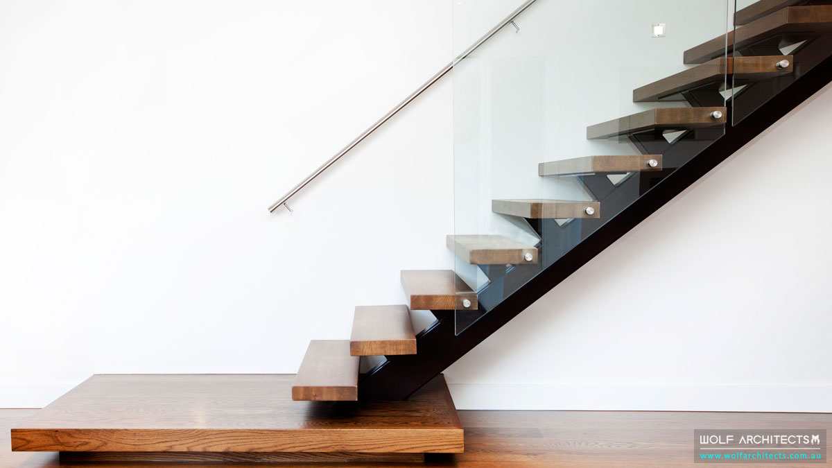 Solid Oak steps stairs in Modern Wolf Architects house