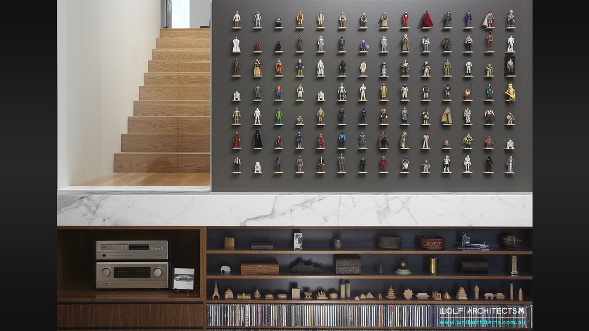 Star Wars custom feature wall for original series vintage figure collection by Wolf Architects