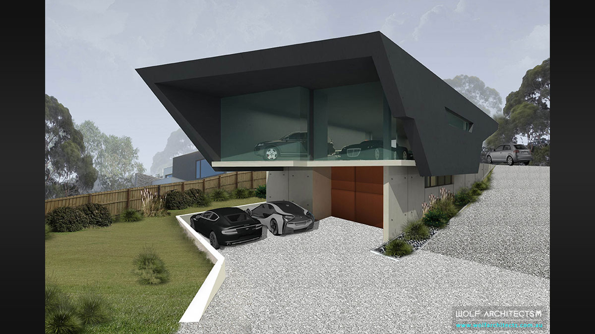 Future vision home for car lover