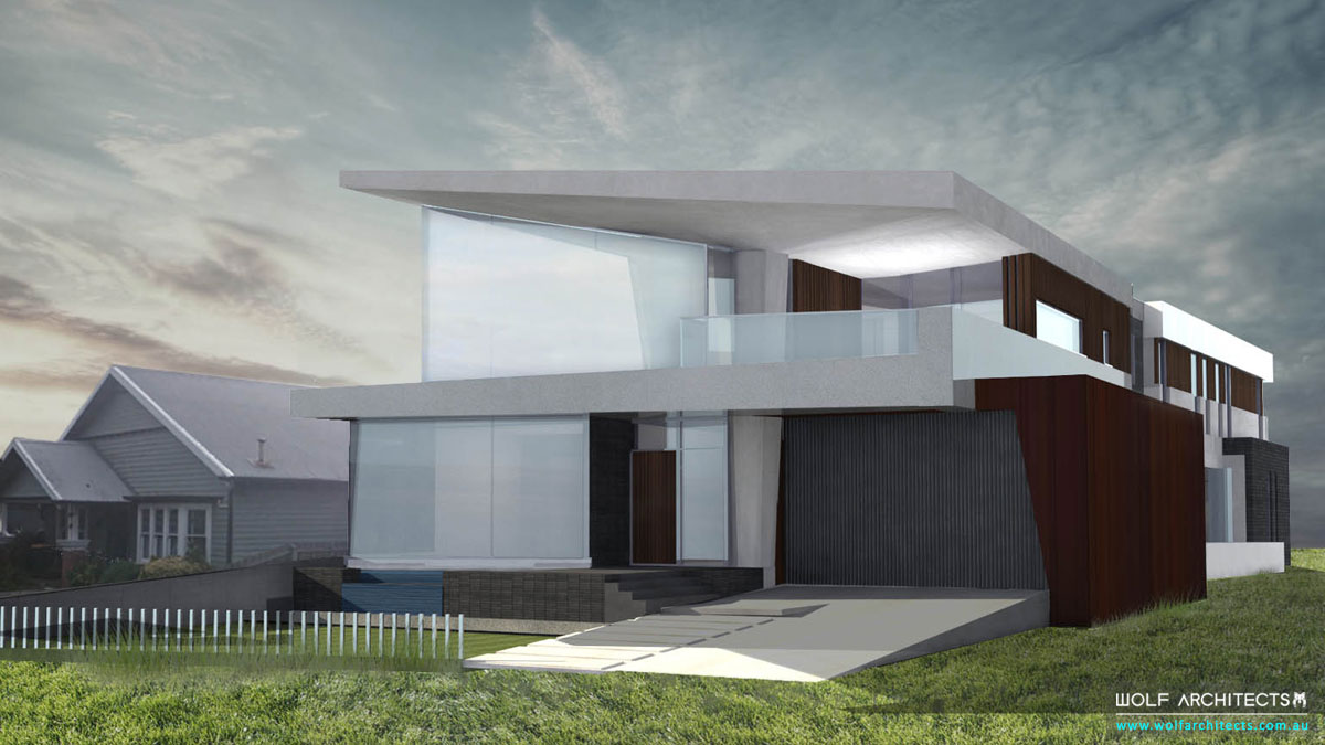 Future vision home with large windows and sharp angles