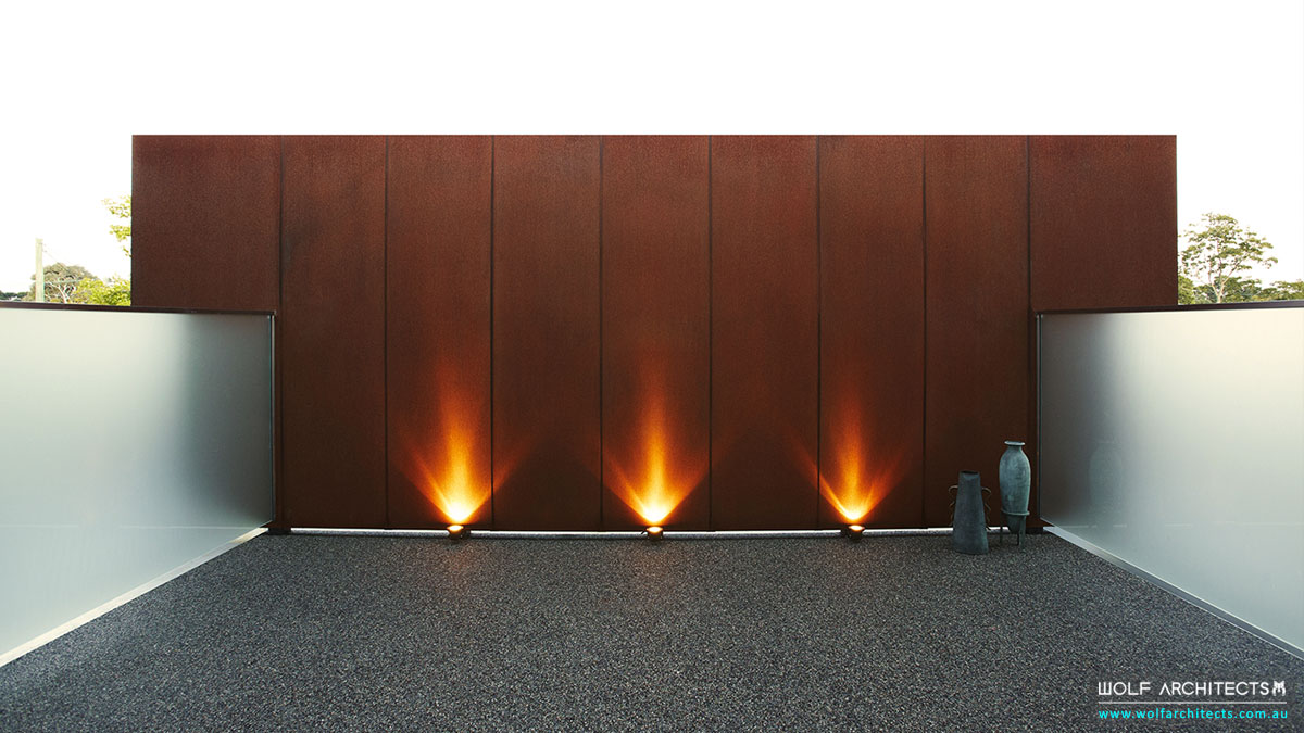 corten screen for privacy to residence by Wolf Architects