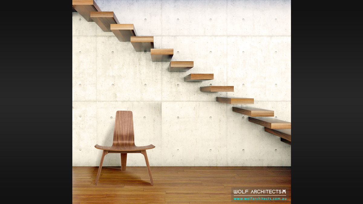 minimal walnut cantilevered stairs by Wolf Architects
