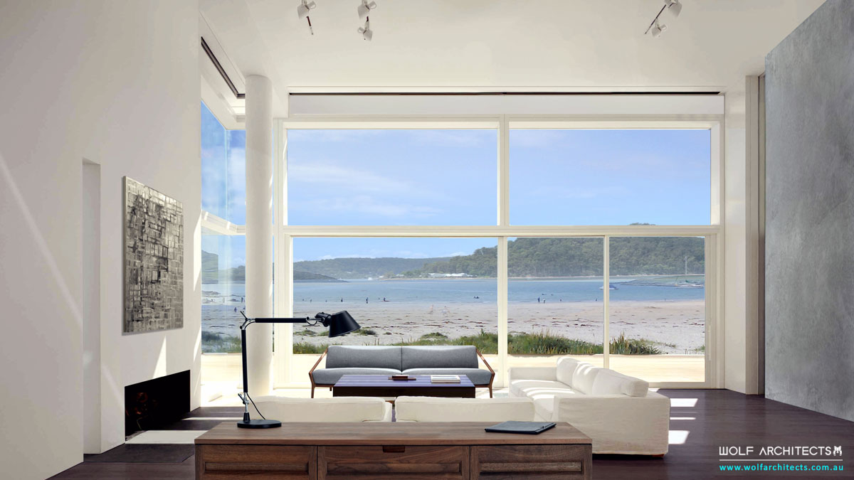Beach house contemporary view to sea by Wolf Architects
