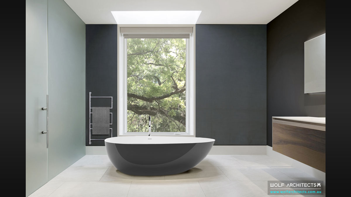 Minimal modern two toned bathroom by Wolf Architects