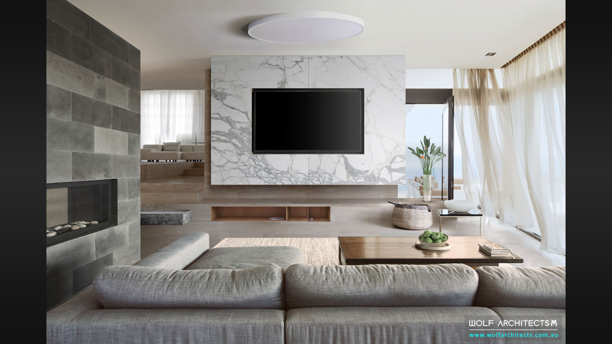 Modern Living room white block house by Wolf Architects