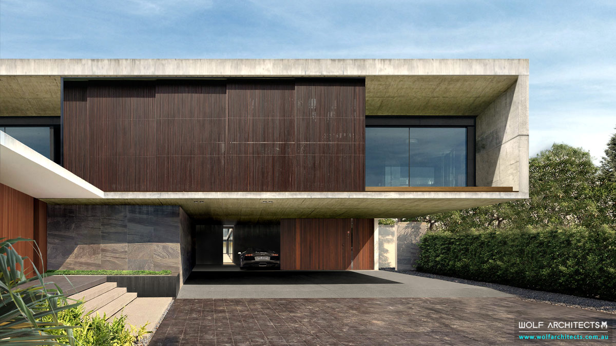 Modern-Luxury-Bangkok-River-house-front-car-entry-by-Wolf-Architects