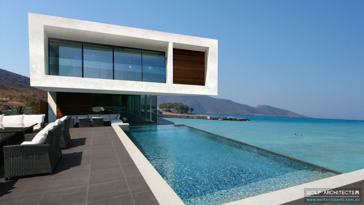 The Contemporary Beach House Exterior view from pool deck